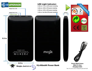 Universal Power Bank 10,400mAh Thin, Portable Phone Tablet External Battery Charger