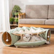 Load image into Gallery viewer, Cat Collapsible Play Tunnel Tube Bed with Removable Cover, Cushion, Scratching Toy, Soft and Cozy