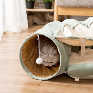 Cat Collapsible Play Tunnel Tube Bed with Removable Cover, Cushion, Scratching Toy, Soft and Cozy