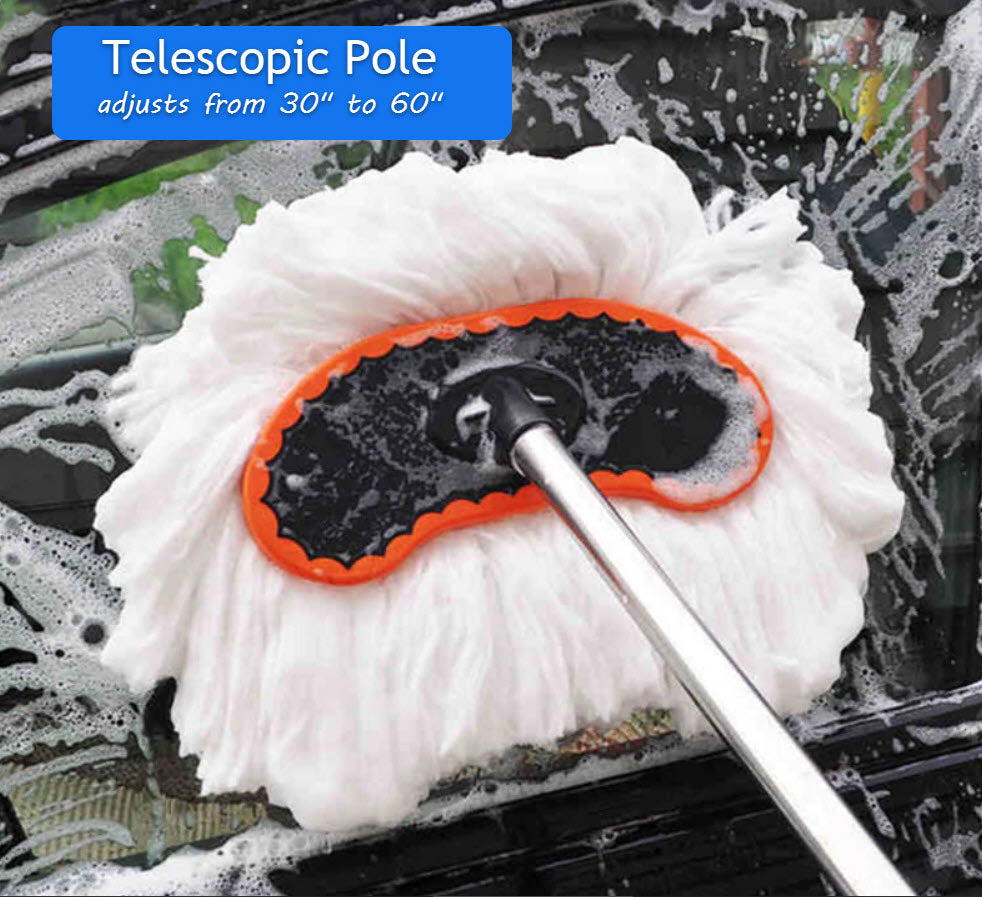 Car Cleaning Mop with Long Telescopic Handle Best for Washing Your Car, Truck, RV, Windows etc. - Extends 60
