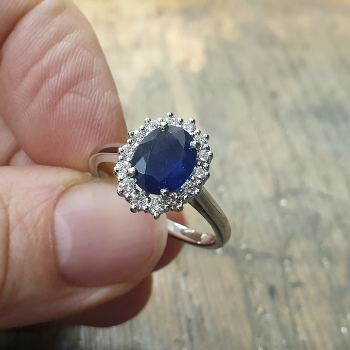 platinum sapphire and diamond lady diana cluster ring