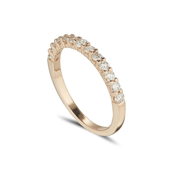 18ct red rose gold diamond half eternity ring claw set diamonds