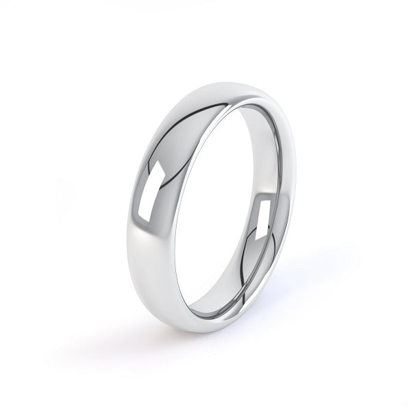 18ct white gold 4mm court shaped wedding ring