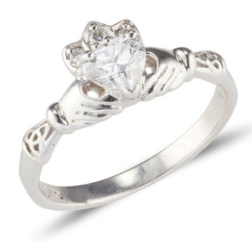 18ct white gold claddagh ring with 5mm heart shaped d colour Diamond with small celtic details for the cuffs