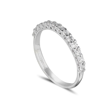 18ct white gold diamond calw set eternity ring, cathedral setting