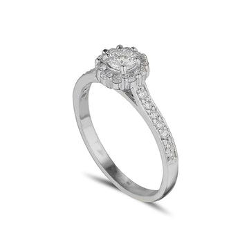 18ct white gold diamond cluster halo style ring