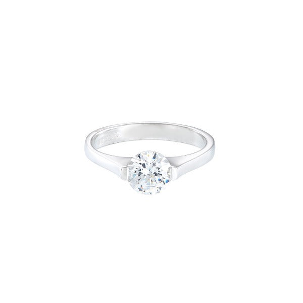 18ct white gold modern diamond solitaire engagement ring with round stone in suspension setting