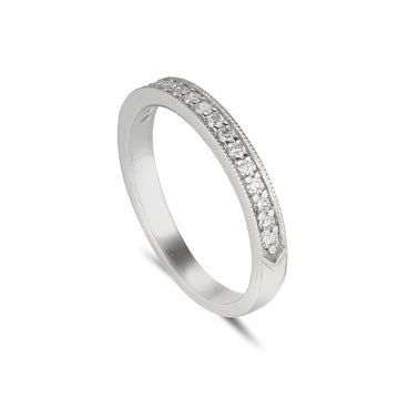 18ct white gold diamond set eternity ring with grain set diamonds