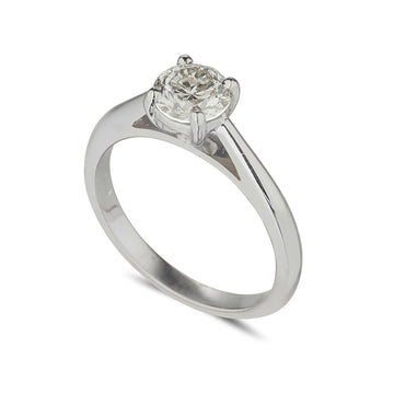 18ct white gold diamond solitaire ring with a round brilliant cut diamond set in white gold
