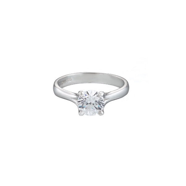 18ct white gold diamond solitaire engagement ring with round stone set in 4 claws