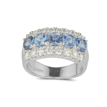 Sapphire and diamond 3 row ring