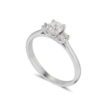 18ct white gold 3 stone ring witth the centre diamond slightly raised.   the centre Diamond is 30 points and the outside stones are  15 points in total