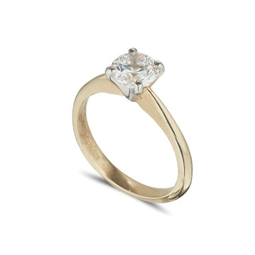 18ct yellow gold solitaire engagement ring with d colour diamond