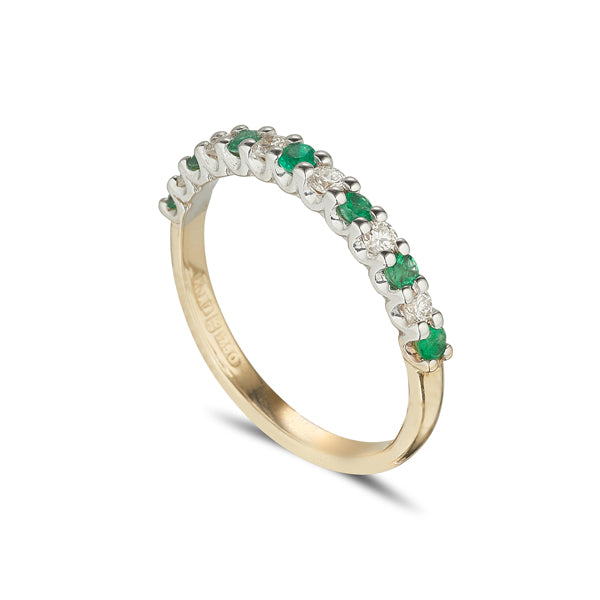 18ct yellow gold emerald and diamond eternity ring