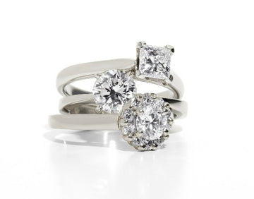 picture of 3 white gold engagement rings
