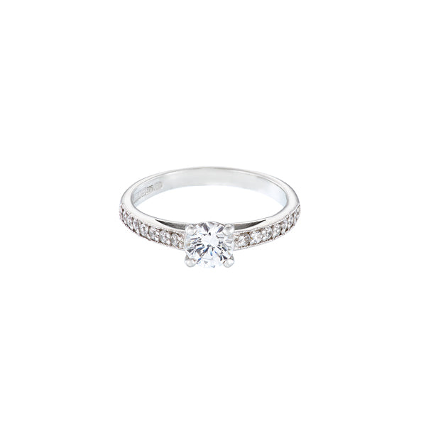 18ct white gold diamond solitaire engagement ring with round stone set in 4 claws and diamond set shoulders