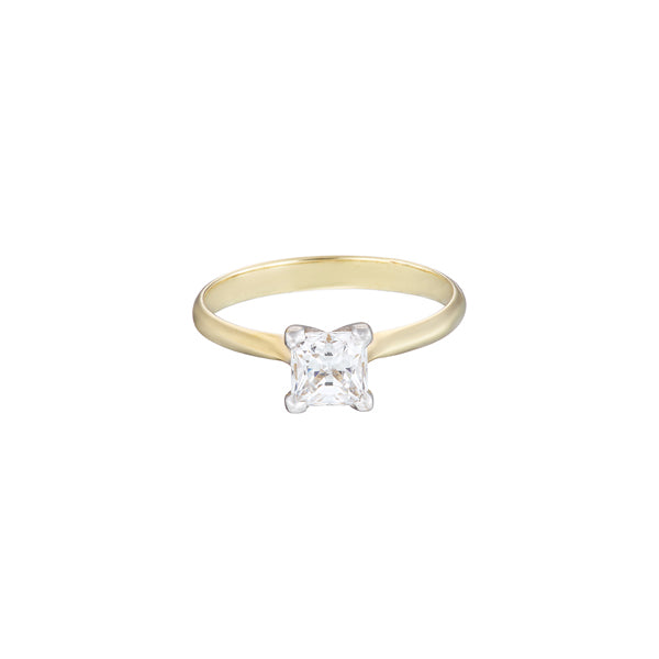 18ct yellow gold diamond solitaire ring with a square princess cut diamond set in white gold