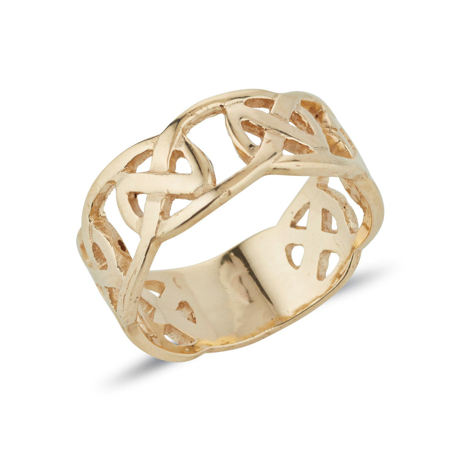 yellow gold celtic design ring circle of life pattern, this is a 1/3 design 2/3 plain ring with a pierced out design