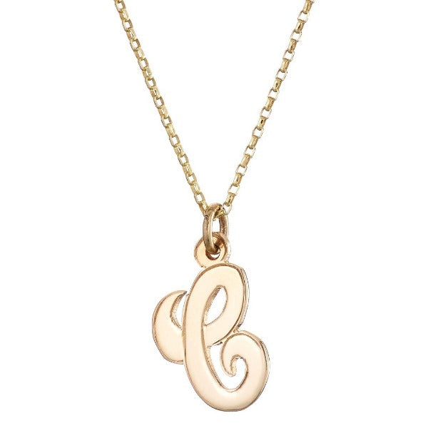 9ct yellow gold initial c pendant