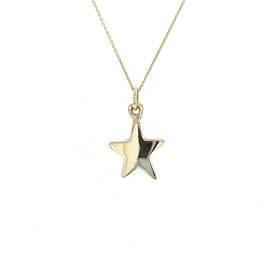 9ct yellow gold solid star disc and chain