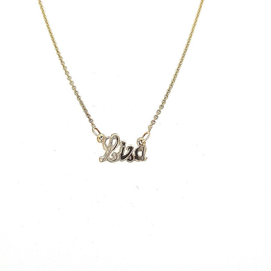 9ct yellow gold tiny name necklace