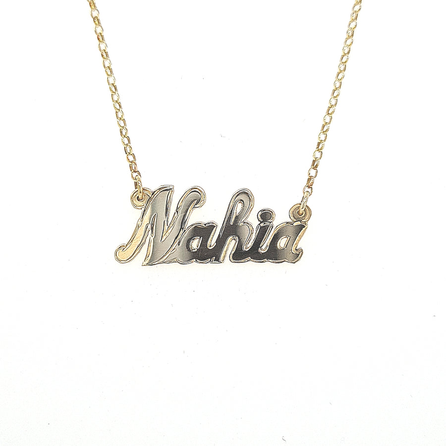 9ct yellow gold personalised name chain