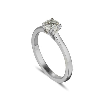 18ct white gold diamond solitaire 4 claw tiffany style ring with 2 point certified diamond