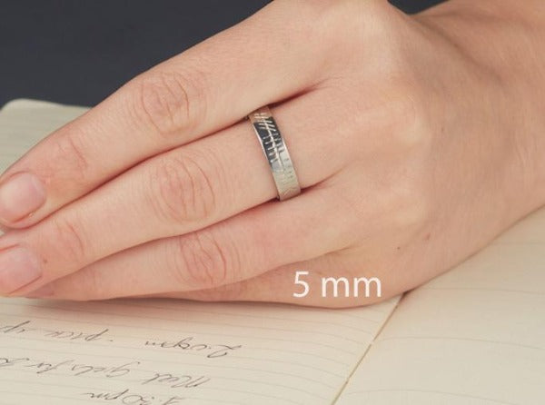 this shows a 5mm band on a ladies hand