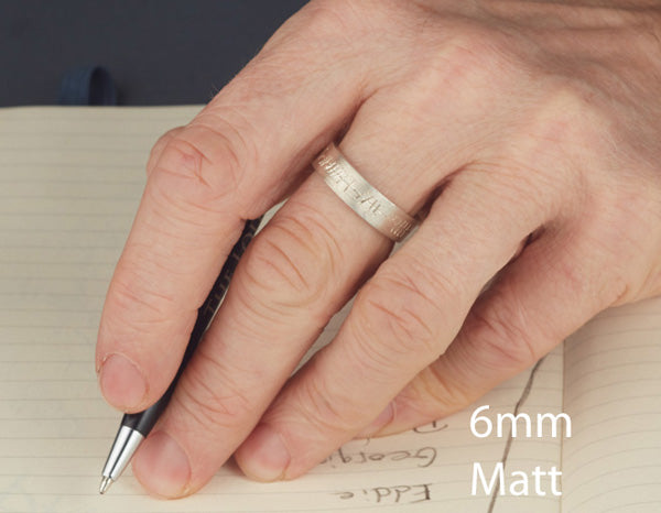 this shows a 6mm band on a gents hand