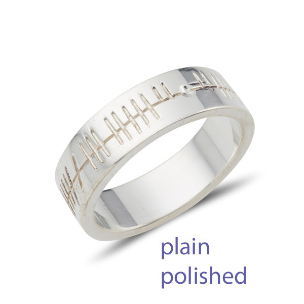 flat wedding ring with Ogham personalised celtic script