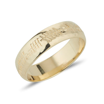 yellow gold d shaped gents wedding ring or ladies ring with celtic ogham inscription