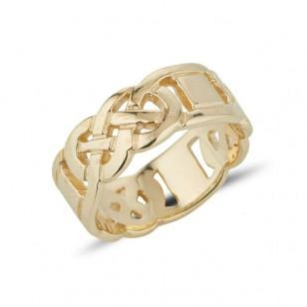 yellow gold gents heavy celtic design ring the design is split around the ring in 3 sections,  and then 3 plain connecting boxes, the design is pierced out