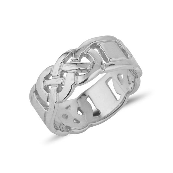 Sterling silver gents heavy celtic design ring the design is split around the ring in 3 sections,  and then 3 plain connecting boxes, the design is pierced out
