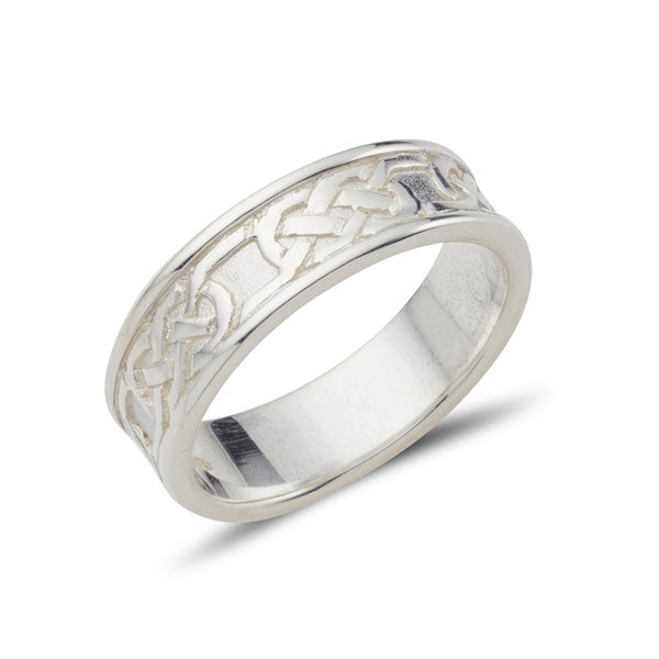 sterling silver celtic design ring full pattern, the design is in the centre with raised rimm edges