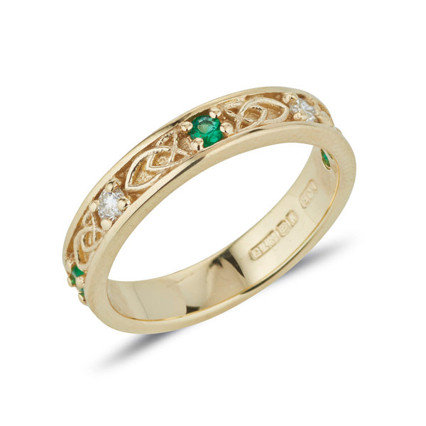 yellow gold ladies celtic design gemstone set  Jenna band,  this ring is set with 5 small 2mm gemstones alternating emerald diamond emerald diamond emerald