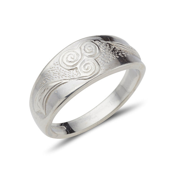 sterling silver celtic design ring with new grange spiral embossed on a tapered band