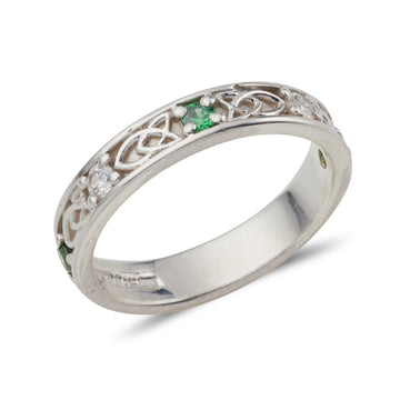 Platinum celtic design gemstone set Jenna band, this ring is set with 5 small 2mm gemstones alternating Emerald and Diamond