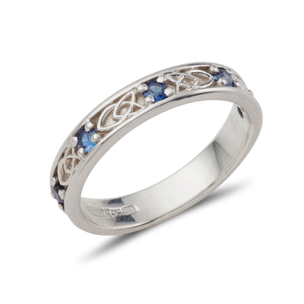 18ct white gold ladies celtic design gemstone set Jenna band, this ring is set with 5 small 2mm Sapphires