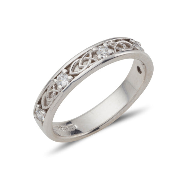 Sterling Silver ladies celtic design gemstone set Jenna band, this ring is set with 5 small 2mm cubic zirconias