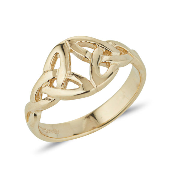gold double trinity knot ring