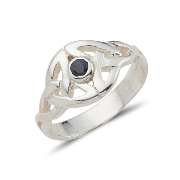 sterling silver celtic trinity knot ring with a small bezel set gemstone in the centre