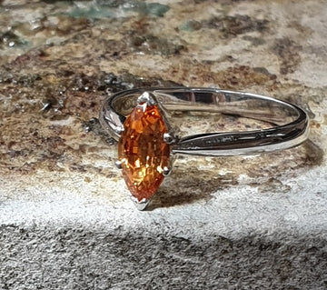 white gold marquise shape citrine simple ring