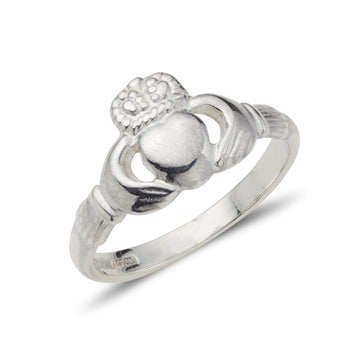 sterling silver ladies antique style claddagh ring