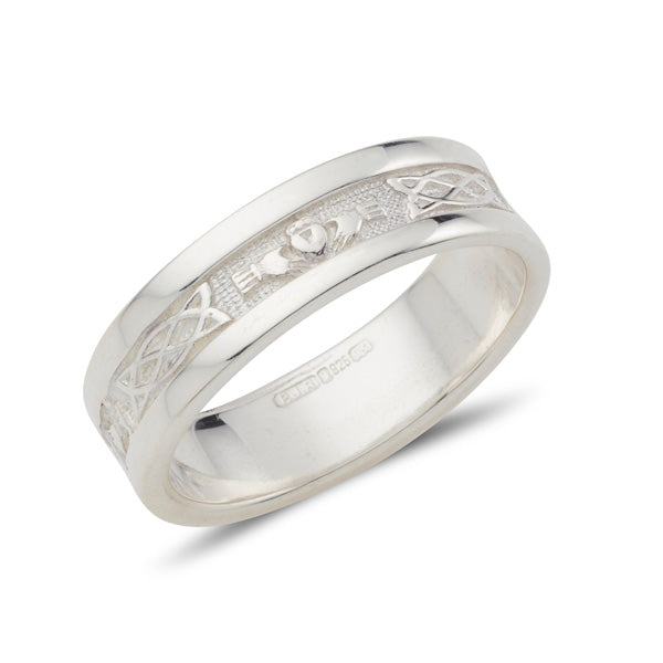 sterling silver gents wedding band style claddagh ring with celtic detail