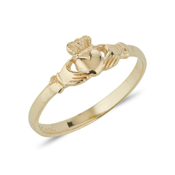 yellow gold danity ladies claddagh ring