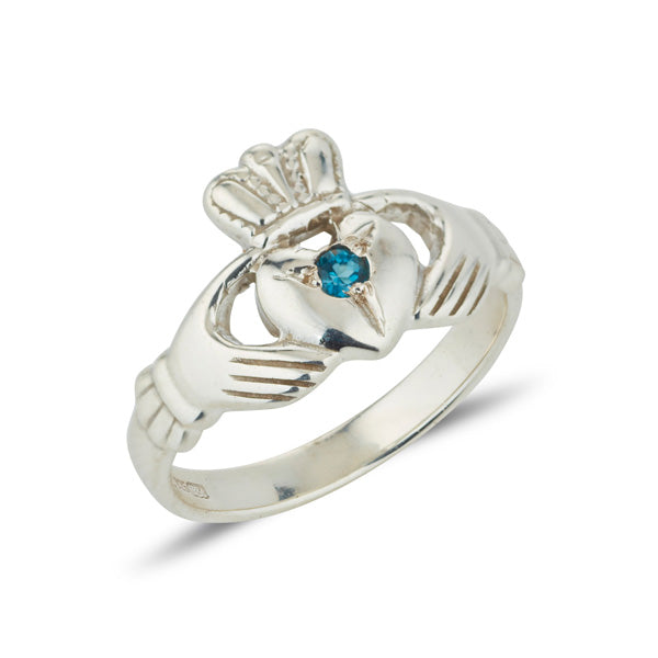 platinum ladies classic claddagh ring with a small round gemstone set in the centre of the heart