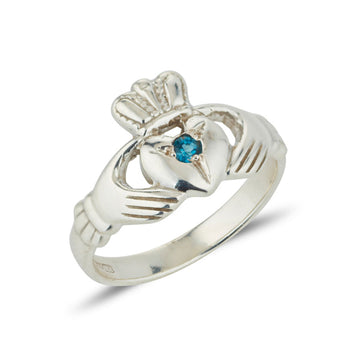 sterling silver ladies claddagh ring classic simple style set with a small round gem quality birthstone in the centre of the heart