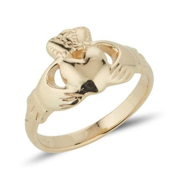 yellow gold ladies medium sized claddagh ring