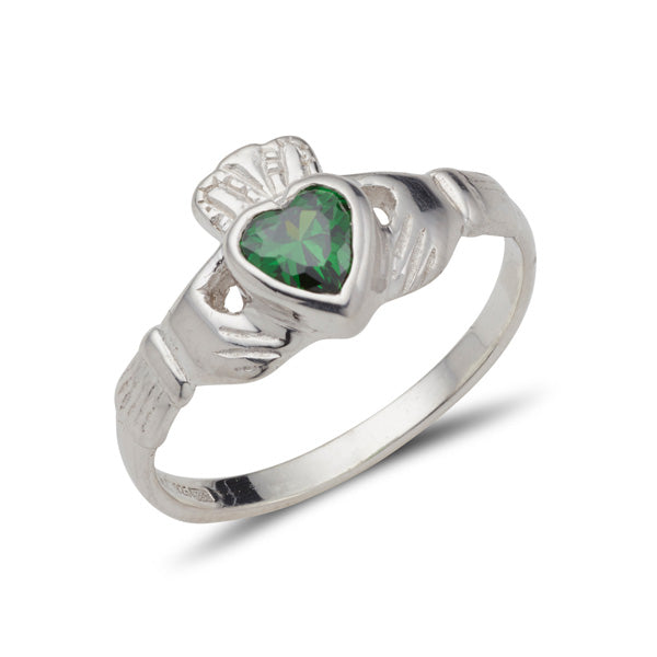 sterling silver ladies claddagh ring with heart shaped bezel set birthstone