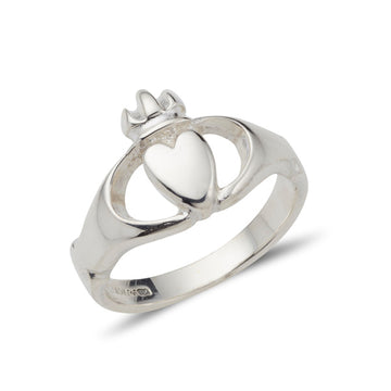 Sterling silver modern plain simple unisex claddagh ring